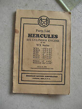 Vintage 1937 Booklet Hercules Motor Corp Parts List Six Cylinder Engine WX Serie