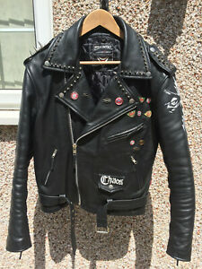 Biker Punk Motorcycle Jacket Studded and Hand Painted Siza 42/L Black