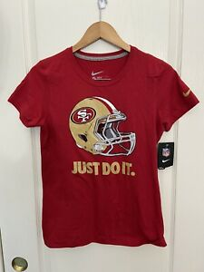 Nike San Francisco 49ers Women's Just Do It T Shirt Red / Gold Slim Fit size M