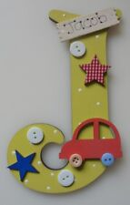 Car Personalised *ANY LETTER & NAME* children kids Room Door Sign Plaque yellow