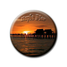 Naples Pier Sunset Florida-souvenir-frigorifero magnete con Ø 60 mm