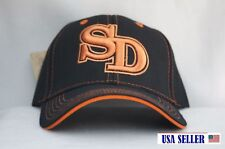 NWT SAN DIEGO BOLD INITIAL'S CONTRAST COLOR BASEBALL CAP BLACK / ORANGE
