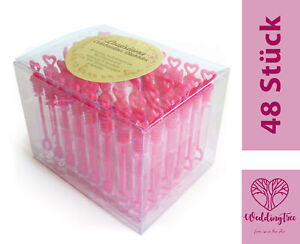 48 Seifenblasen Herzen Pink Wedding Bubbles Hochzeit Taufe Gastgeschenk Party