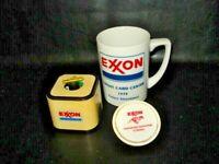 VINTAGE LOT OF Exxon MEMORABILIA-NIGHT LIGHT-CUP-PAPER CLIP HOLDER