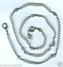 """Curb Link Necklace ~ Unique Gift Exteremely Long Crystal Station Silvertone 40"""""""