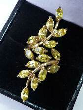 HUGE 9ct Gold Marquise Peridot Vine Leaves Statement Ring, Size M1/2