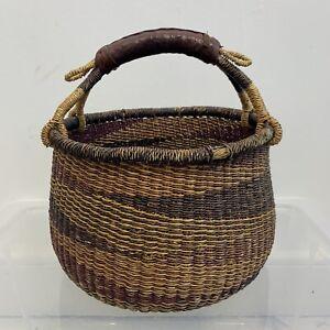 Vintage Bolgatanga Bolga Basket Handmade Woven Fair Trade Medium