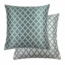 "JACQUARD MOROCCAN-STYLE PATTERNED TEAL WHITE 18"" - 45CM CUSHION COVER"