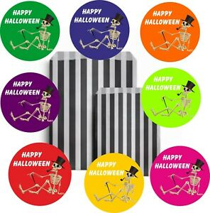 32 Happy Halloween Black Striped Bags & 32 Stickers  for Trick Or Treat Party