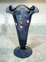 "Fenton Glass Hand Painted ""Pink Daisies"" on Hyacinth Trumpet Vase, New With Box"
