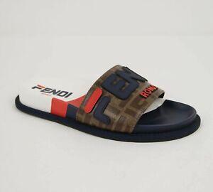 $690 Fendi Women's Blue Brown Rubber Slide Sandal with Logo 8X6638 F14ZA