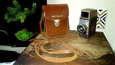Vtg Bell & Howell 252 8mm Movie Camera Empty Reel Case Leather Straps Works