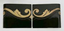 Vintage Decorative Tiles Black & Gold AET? Set=2