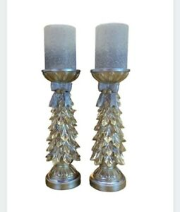 Kringle Express Christmas Tree Pillars with Flameless Candles Set Of 2