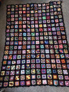 "Large VINTAGE Granny Square BLACK Afghan Crochet Throw Blanket Handmade 68""×48"""