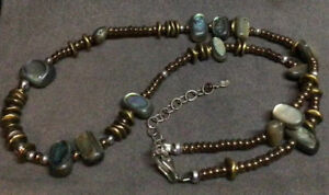 """Silpada 925 Sterling Silver & Brass Bead Abalone Shell Necklace 16""""+2"""" N1729"""