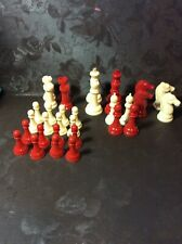 Vintage 1950s Plastic Red & White Chess Set Nice