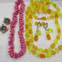 Vintage HONG KONG Necklaces and Earrings SETS Lucite SHELL Pink Orange Yellow
