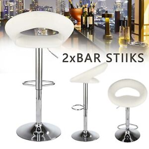 2 Bar Stools White Eclipse Swivel PU Leather Chrome Kitchen Chair Gas Lift