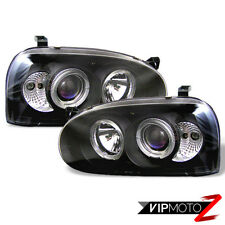 Left+Right Black Halo Angel Eye Projector Headlight 93-98 Volkswagen Golf MK3