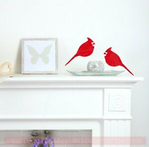 Cardinal Set of 2 Bird Vinyl Art Holiday Wall Decals Christmas Home Decor Birds