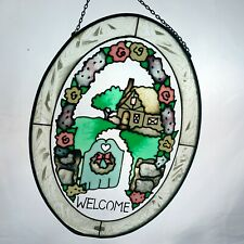 Joan Baker Designs Welcome Stained Glass Window Hanging Suncatcher Cottage Home