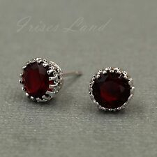 White Gold Plated Ruby Red Cubic Zirconia CZ Wedding Crown Stud earrings 08119