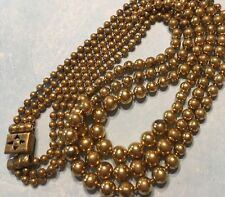 "Vtg 1930's Gilt Brass Pull Chain Bead 16"" 3 Tier Necklace-Estate"