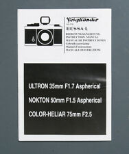VOIGTLANDER BESSA L LENS INSTRUCTIONS 35/50//133598
