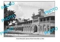 OLD 8x6 PHOTO TOWNSVILLE QUEENSLAND QUEENS HOTEL c1934