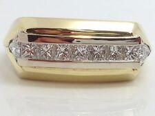 MENS  18K YELLOW GOLD 1.50 CTTW PRINCESS & TRILLION CUT DIAMOND RING size 10