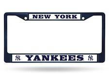 1 New York Yankees Navy Blue Metal License Plate Frame wNice Raised 3D Graphics