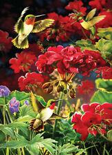 NEW! Cobble Hill Puzzles Ruby Geraniums 1000 piece birds flowers jigsaw puzzle
