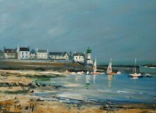 Bretagne. Le port de l'île de Sein. Peinture signée ROY