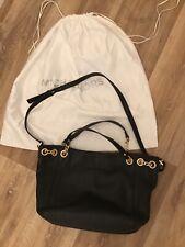 MICHAEL KORS black leather medium sized shoulder bag gold hardware detailing