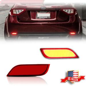 2pcs Red Lens LED Bumper Foglight Brake Tail Lamps For 2008-up Subaru Impreza