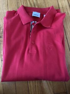 Authentic Burberry Men's Polo Short Sleeve Shirt Red Size XL 8014317 New