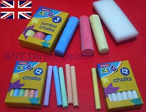 New White & Colourfull kids chalks Jumbo Size Chalks Eraser for Chalk Board Gift