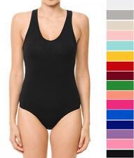 Women's V-Neck Sleeveless Bodysuit Soft Stretch Cotton Knit Racerback Tank Top