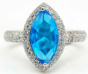 4CT Blue Topaz & Topaz 925 Solid Sterling Silver Ring Jewelry Sz 9 SD3