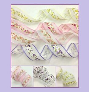 """Mixed Grosgrain Organza Ribbon Flowers, Cakes, Gifts 38mm (1.1/2"""") 1398"""