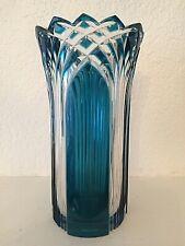 """Vase en Cristal - modèle """"Gothique"""" - doublé bleu pétrole - non signé"""