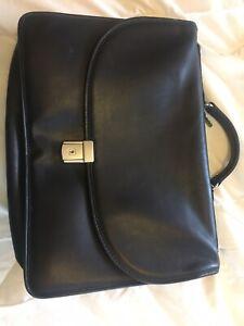 Jack Georges Black Leather Briefcase Messenger Bag Satchel