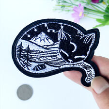 Painting Cat Iron on Applique Mountain Tree Sky Outdoor DIY Embroidered Patch