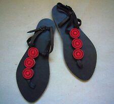 Afrikanische Ethnisch Kenianisch Leder Tribal Masai Rot Perlen Sandalen Schuhe
