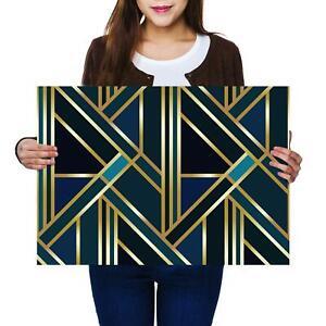 A2   Green Gold Deco Geometric Retro Size A2 Poster Print Photo Art Gift #12546