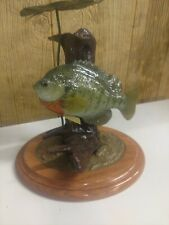 Bluegill Reproduction Fish Mount Pedestal Solid Oak Base Trophy Room Cabin
