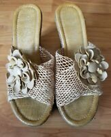 Patrizia Women's Sz 39 (9 )Camel Wedge Heel Platform Sandals Shoes Beige Flower