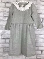 Crewcuts J Crew Girl Gray Cotton Jersey Dress with Ruffle Collar Size 6