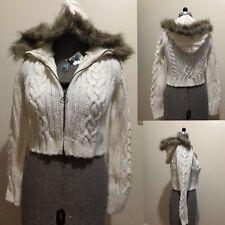 Sportsgirl Women's Large Size All White Knitwear Fur Hoodie Cardigan